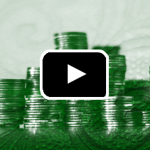 green screened stacks of coins in background, video play button in foreground
