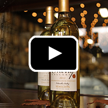 Two bottles of white wine in front of blurred lights, in background, video play button in foreground