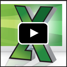 excel logo in background, video play button in foreground