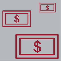 three red dollar signs in rectangles on gray background