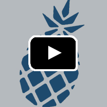 pineapple graphic in background, play button in foreground