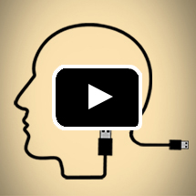Computer USB cord outline of human head in profile in background, play button in foreground