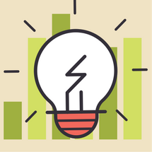 Image: illustration of light bulb with bar graphic behind it