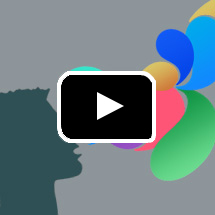 silhouette of person's profile with multi-colored balloons coming from mouth in background, playbutton in foreground