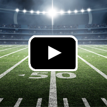 lighted football field in background, play button in foreground