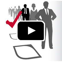 silhouettes of business people in a line next to red check mark in background, play button in foreground