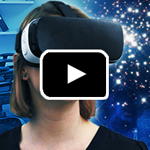 closeup of woman wearing VR goggles in background, play button in foreground