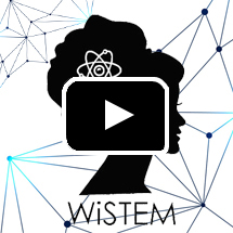 woman's silhouette with atom in hair, text WiSTEM in background, play button in foreground