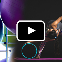 graphic of woman stretching beneath purple workout ball in background, playbutton in foreground