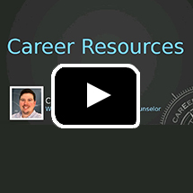 text Career Resources, photo of Chris Miller in background, playbutton in foreground