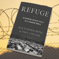 Photo: Refugee book cover against background of barbed wire.