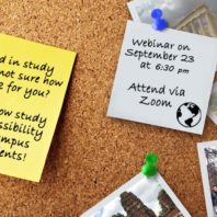 Photo: Corkboard with photos of studying abroad.