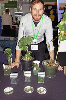 Tyler Armour, a WSU undergraduate and researcher in Amit Dhingra's genomics lab, explains the life cycle of the grapevine using the dwarf variety, Pixie. Photo courtesy Life Sciences Weekend organizers.