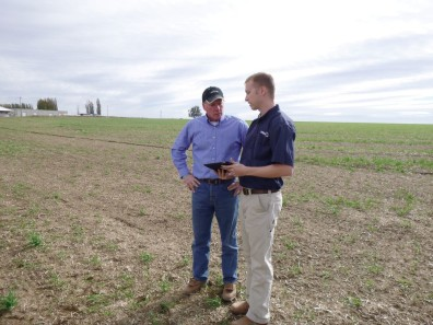 Patrick Williams consults onion farmer.
