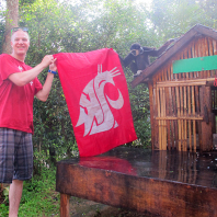Faculty-led Business in Phuket, Thailand A monkey helps Ian McCauley represent WSU during the Island Safari Elephant Trek. Photo submitted by Melissa Tran.