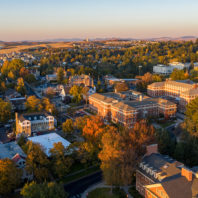 Wide aerial view of campus