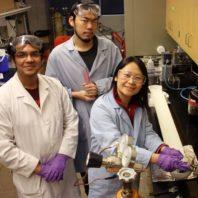 Hang Liu working in lab