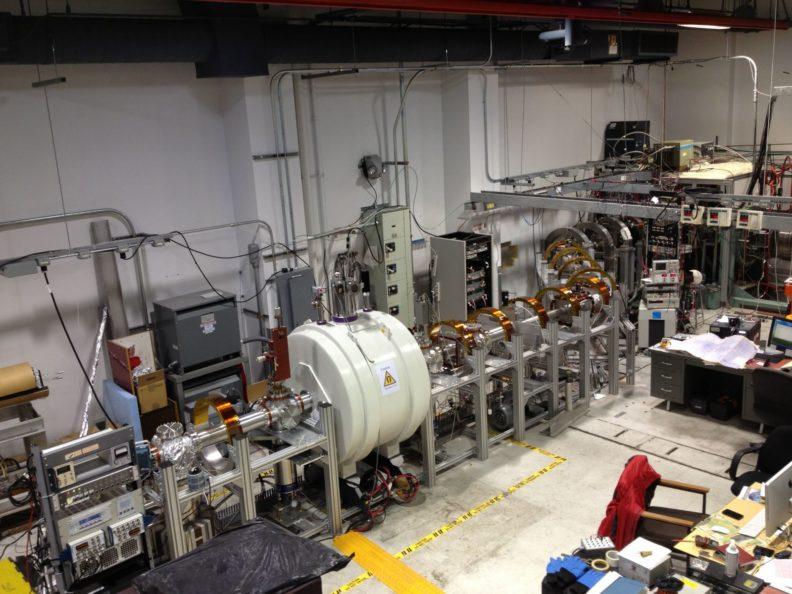 Picture of our new beamline, superconducting magnet and backend controls & diagnostics.