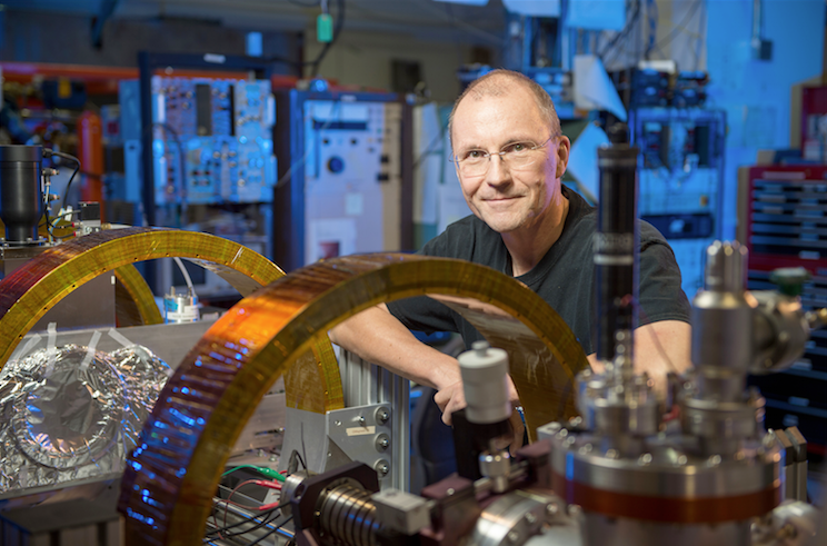 Dr. Marc Weber with the positron beamline.