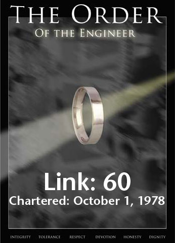 Banner with the words: The Order of the Engineer; Link: 60; Chartered: October 1, 1978