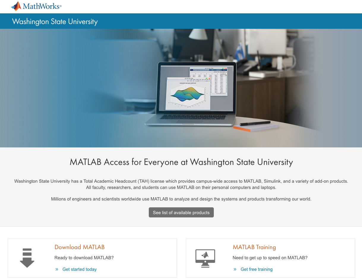 Follow the MATLAB Portal link, then click 'Get started today'