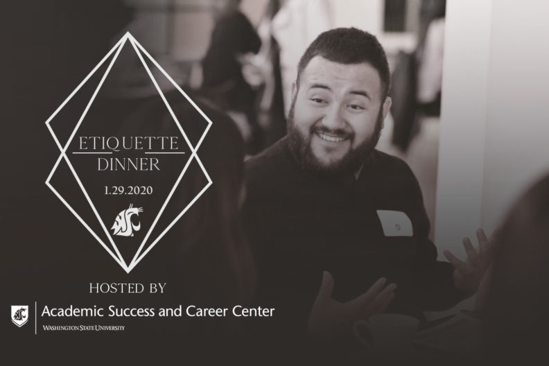 logo for the etiquette dinner showing students talking