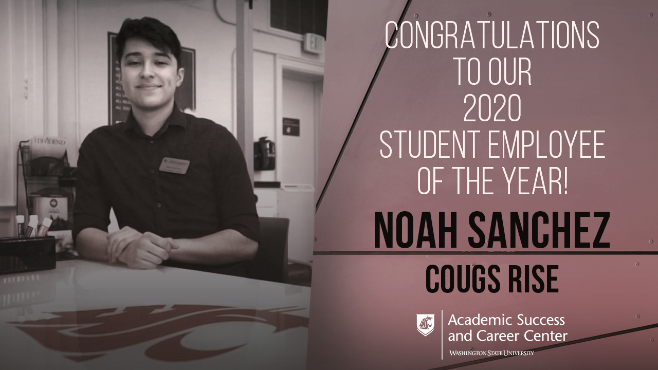 Congratulations to our 2020 student employee of the year Noah Sanchez! Noah works in the Cougs Rise, which is a program of the Office of Academic Engagement.