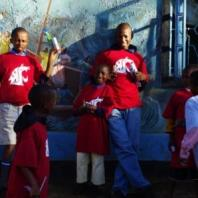East Africans wearing WSU t-shirts