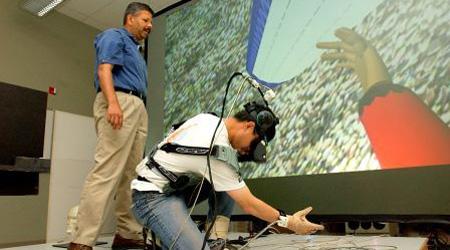 Student using virtual reality technology