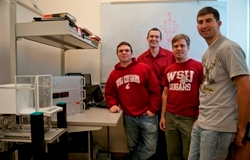 Jake Leachman (center back) with engineering students