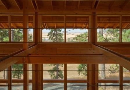 Beams inside a Moscow, Idaho home designed by WSU professor Paul Hirzel