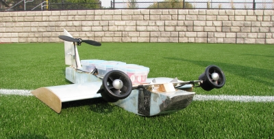 Model of a Power Augmented Ram Vehicle (PARV), a marine craft that flies over flat surfaces, like water or snow, exceeding speeds of 100 mph.