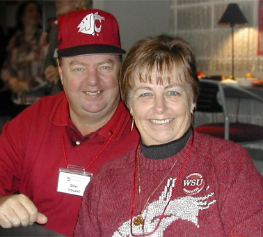 Gene and Linda Voiland outfitted in WSU apparel
