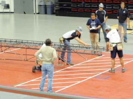 The Washington State University Steel Bridge team participates in a competition