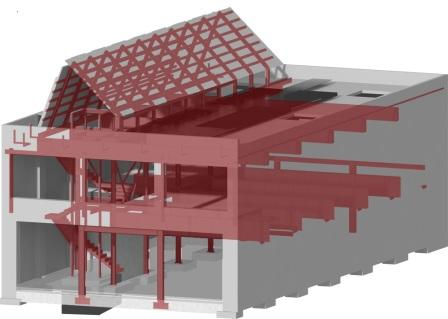 Computer model for a design for Melrose Square in Seattle that integrates structure and energy retrofits.