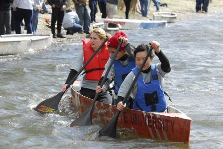 WSU's concrete canoe team on their canoe