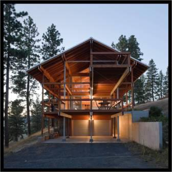 Garage and deck view of Paul Hirzel's award-winning design of the Mountain House.
