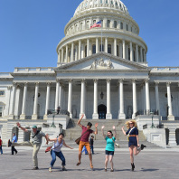 REU students pose in front of the United States Capitol building in Washington, D.C.