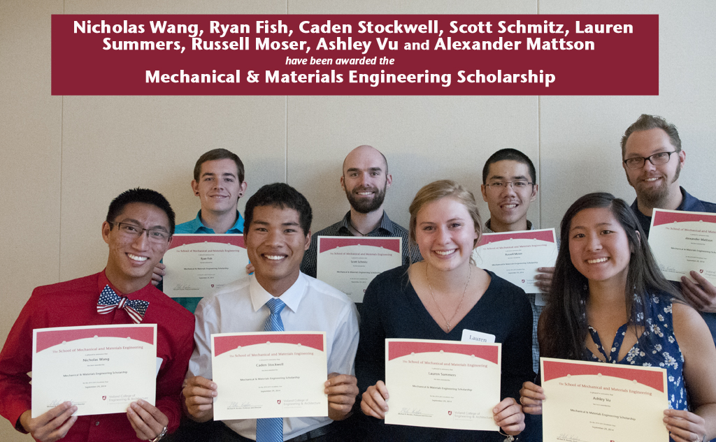 recipients of the Mechanical and Materials Engineering scholarship