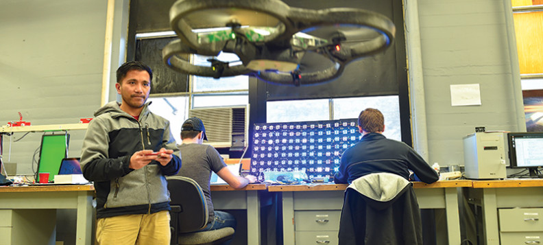 Students hard at work in the intelligent robot learning lab