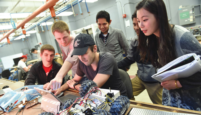 WSU students working on robotic car.