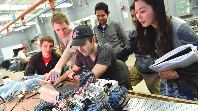 WSU students working on robotic car