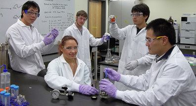 Students study biofuels in Xiao Zhang's lab at WSU Tri-Cities.