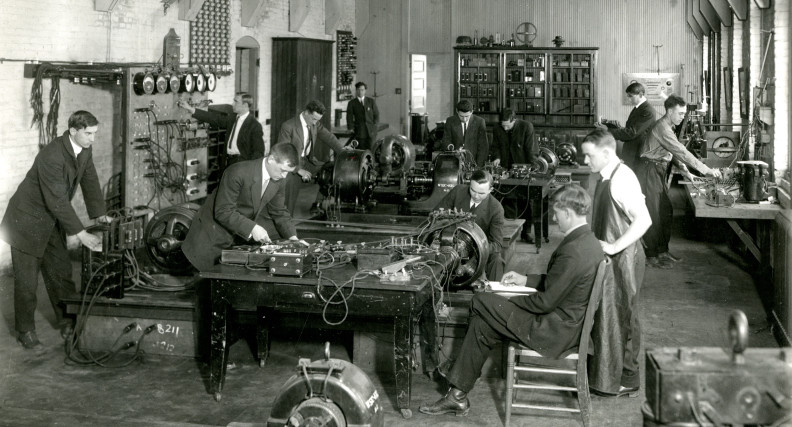 Historical photo of the Washington State College power lab.