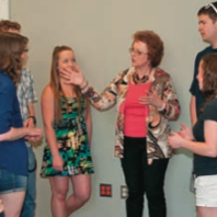Sandi Brabb, Voiland College co-op coordinator, meets with students.