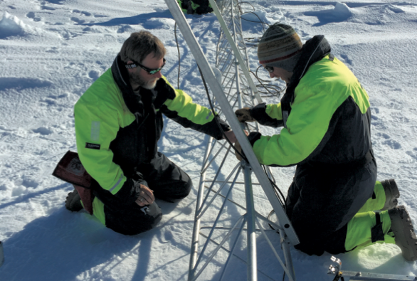 Researchers make atmospheric measurements as part of the Norwegian Young sea ICE experiment (N-ICE2015).