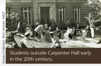 Students outside Carpenter Hall early in the 20th century.