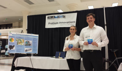 WSU mechanical engineering students Bailee DePhelps and Mitchell Scott at the Alaska Airlines Environmental Innovation Challenge.