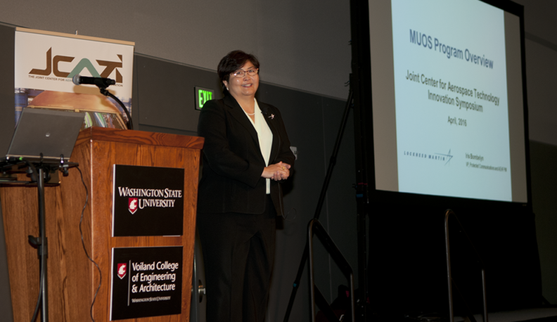 Iris Fujiura Bombelyn, keynote speaker at the recent Joint Center for Aerospace Technology and Innovation's annual symposium held in Spokane.