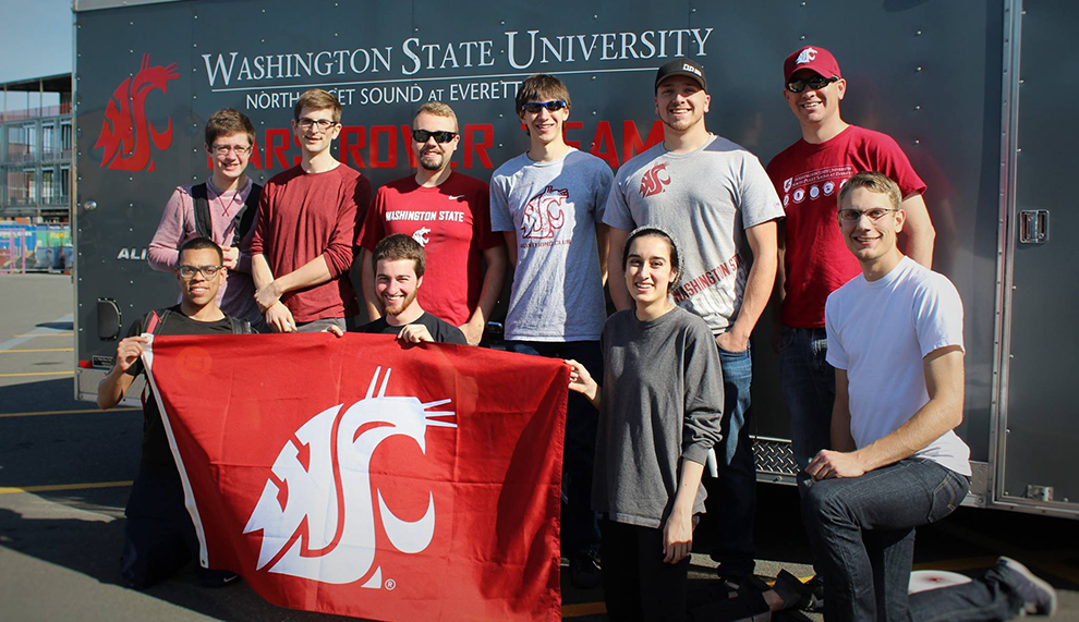 Students from WSU North Puget Sound at Everett are leading the charge to colonize Mars. The Mars Rover Team poses at the 2016 University Rover Challenge concluded on Saturday (June 4th) at the Mars Society's Mars Desert Research Station (MDRS) in southern Utah.